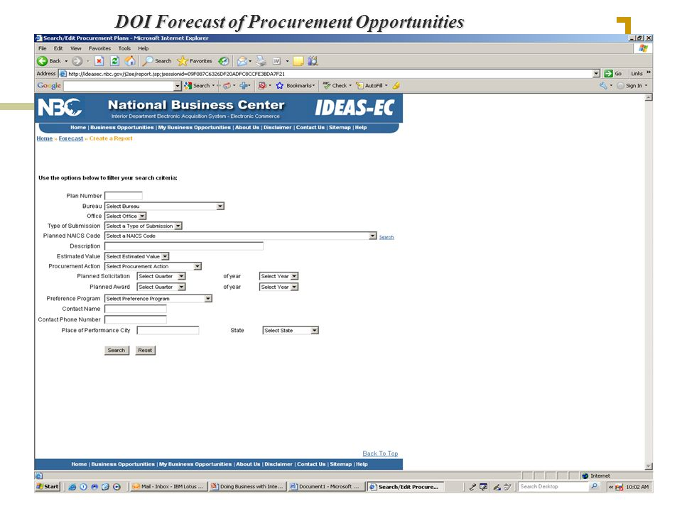 DOI Forecast of Procurement Opportunities