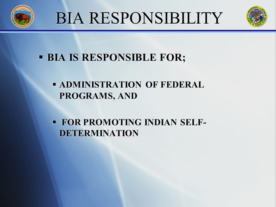 BIA RESPONSIBILITY BIA IS RESPONSIBLE FOR; ADMINISTRATION OF FEDERAL PROGRAMS, AND FOR PROMOTING INDIAN SELF- DETERMINATION BIA IS RESPONSIBLE FOR; ADMINISTRATION OF FEDERAL PROGRAMS, AND FOR PROMOTING INDIAN SELF- DETERMINATION