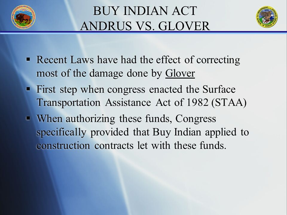 BUY INDIAN ACT ANDRUS VS.