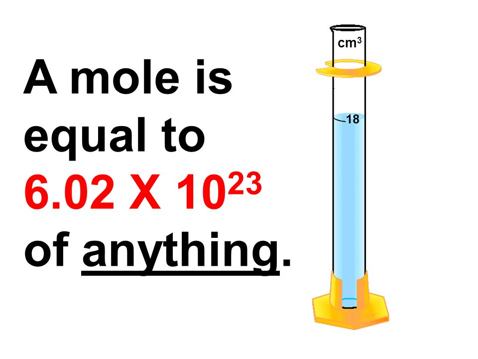 A mole is equal to 6.02 X 10 23 of anything. cm 3