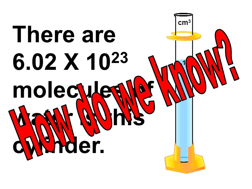 There are 6.02 X 10 23 molecules of water is this cylinder. cm 3
