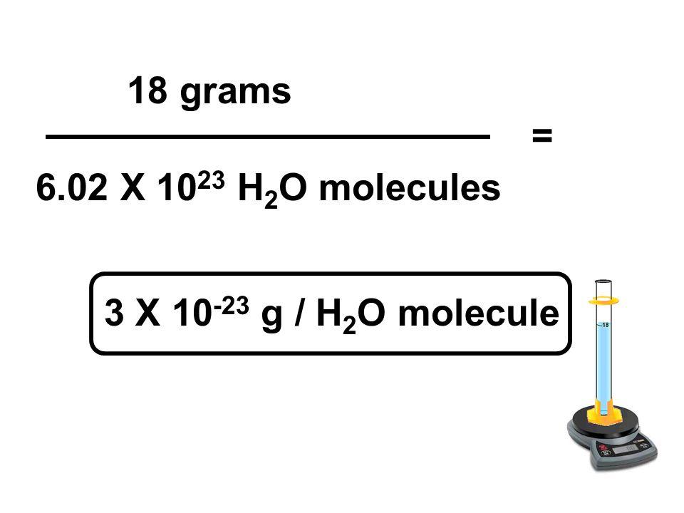 6.02 X 10 23 H 2 O molecules 18 grams = 3 X 10 -23 g / H 2 O molecule