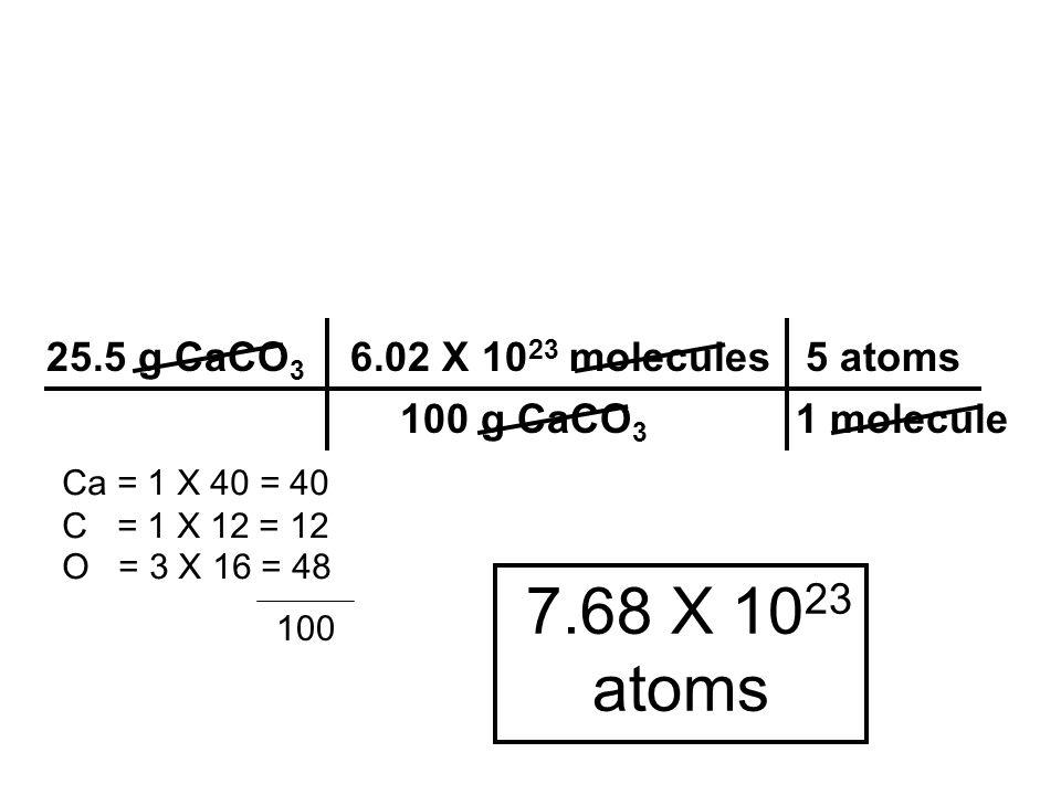 7.68 X 10 23 atoms 25.5 g CaCO 3 6.02 X 10 23 molecules 5 atoms 100 g CaCO 3 1 molecule Ca = 1 X 40 = 40 C = 1 X 12 = 12 O = 3 X 16 = 48 100