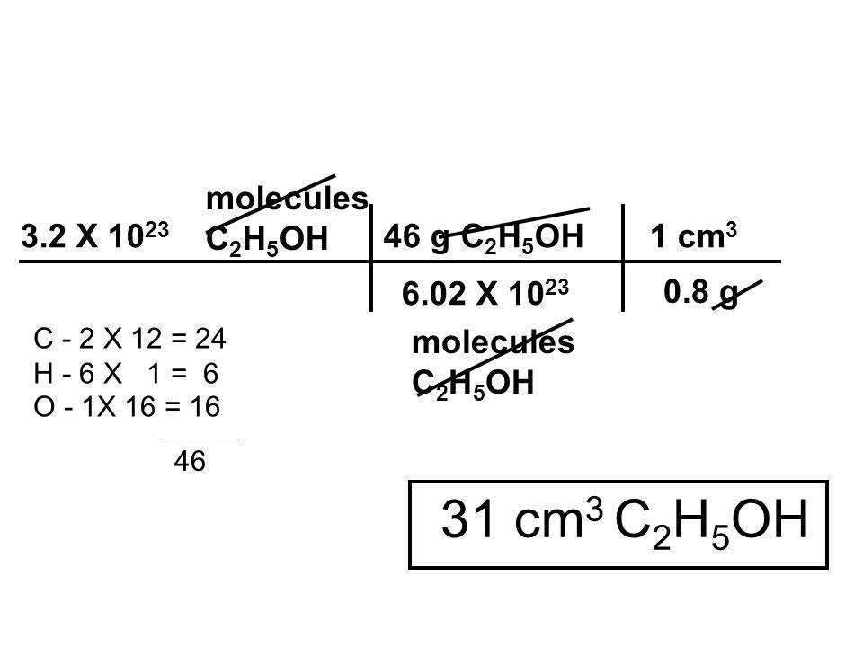molecules C 2 H 5 OH molecules C 2 H 5 OH 31 cm 3 C 2 H 5 OH 3.2 X 10 23 46 g C 2 H 5 OH 1 cm 3 6.02 X 10 23 C - 2 X 12 = 24 H - 6 X 1 = 6 O - 1X 16 =