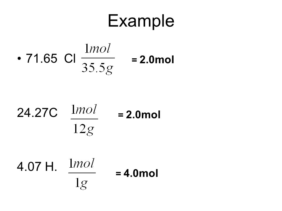 Example 71.65 Cl 24.27C 4.07 H. = 2.0mol = 4.0mol