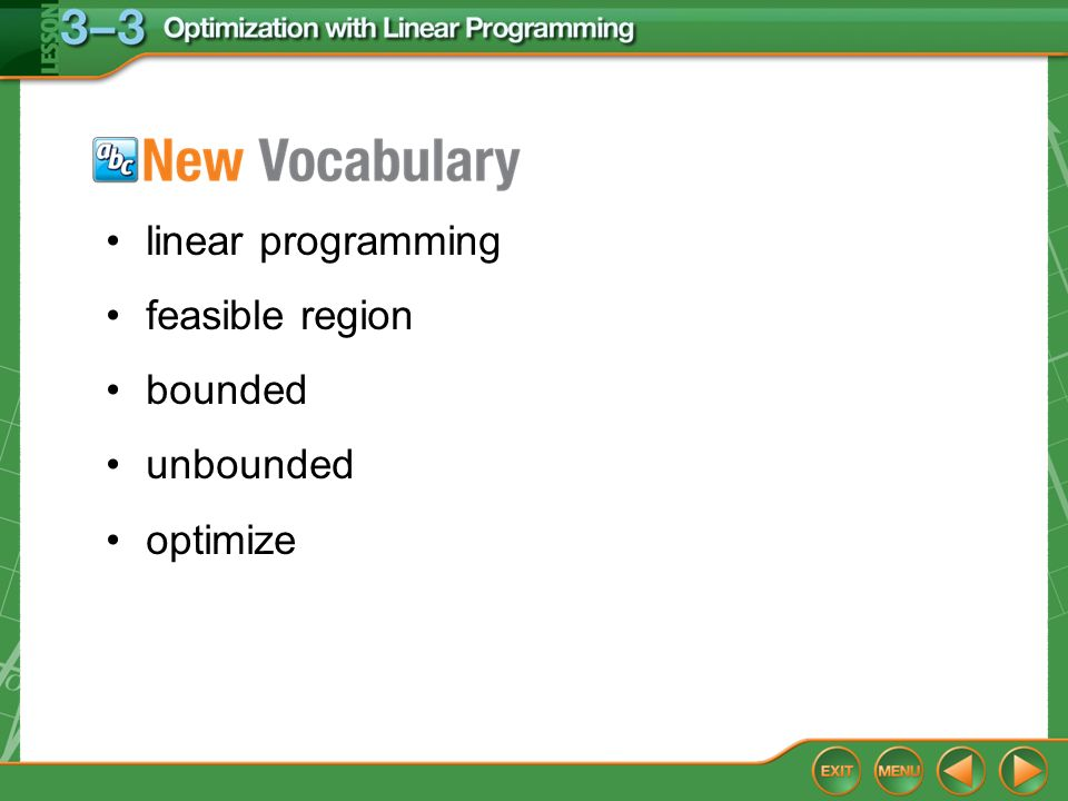 Vocabulary linear programming feasible region bounded unbounded optimize