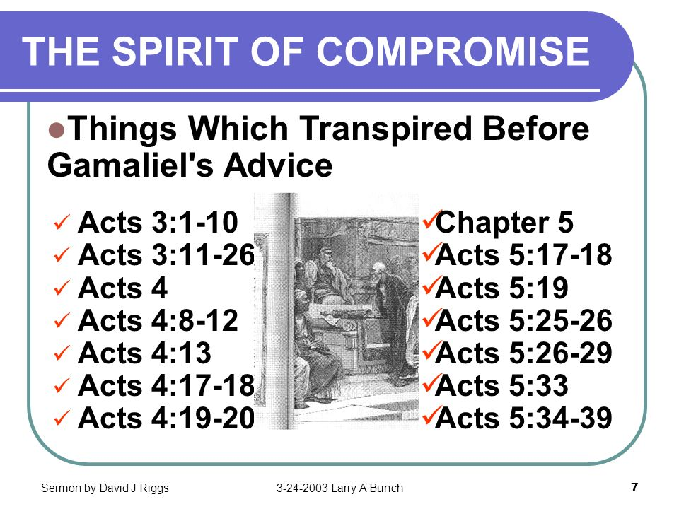 Sermon by David J Riggs3-24-2003 Larry A Bunch7 THE SPIRIT OF COMPROMISE Acts 3:1-10 Acts 3:11-26 Acts 4:7 Acts 4:8-12 Acts 4:13 Acts 4:17-18 Acts 4:1