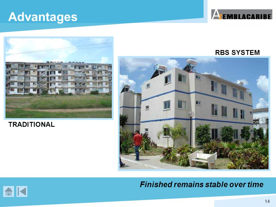 14 Advantages TRADITIONAL RBS SYSTEM Finished remains stable over time