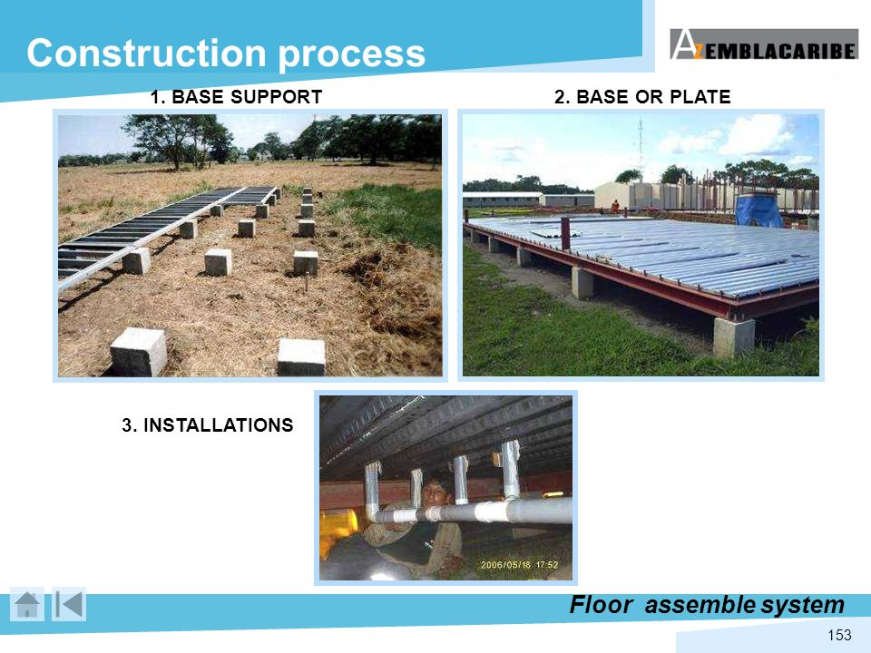 153 Construction process Floor assemble system 1. BASE SUPPORT2. BASE OR PLATE 3. INSTALLATIONS