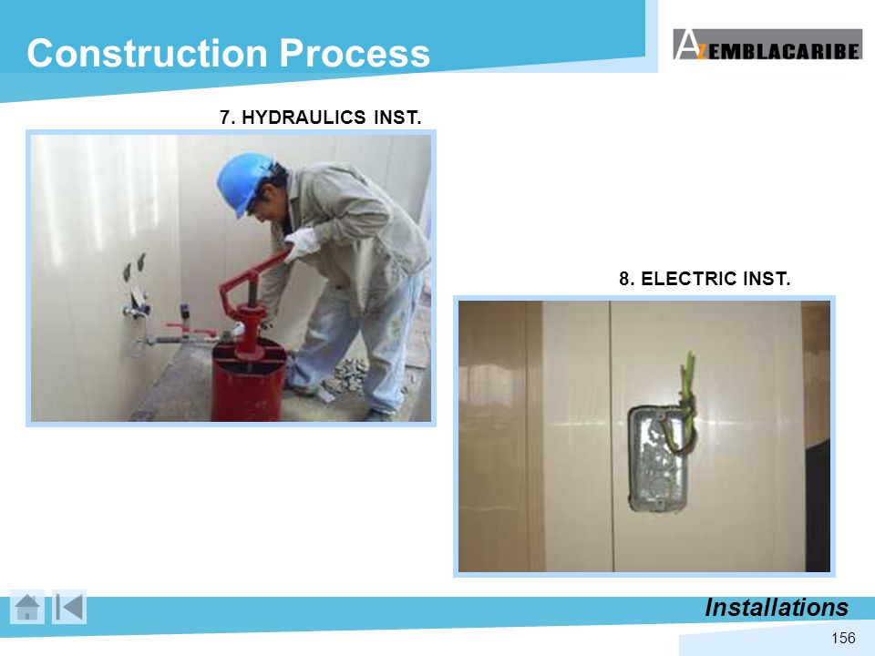 156 Construction Process Installations 7. HYDRAULICS INST. 8. ELECTRIC INST.