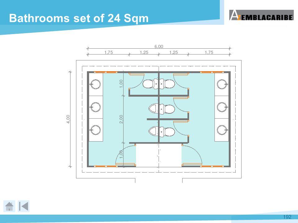192 Bathrooms set of 24 Sqm