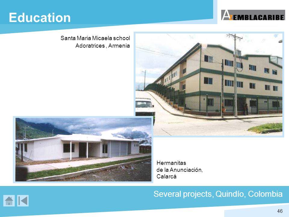 46 Education Several projects, Quindío, Colombia Hermanitas de la Anunciación, Calarcá Santa Maria Micaela school Adoratrices, Armenia