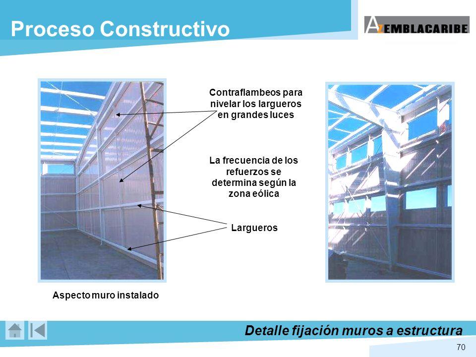 70 Aspecto muro instalado Contraflambeos para nivelar los largueros en grandes luces Largueros La frecuencia de los refuerzos se determina según la zo
