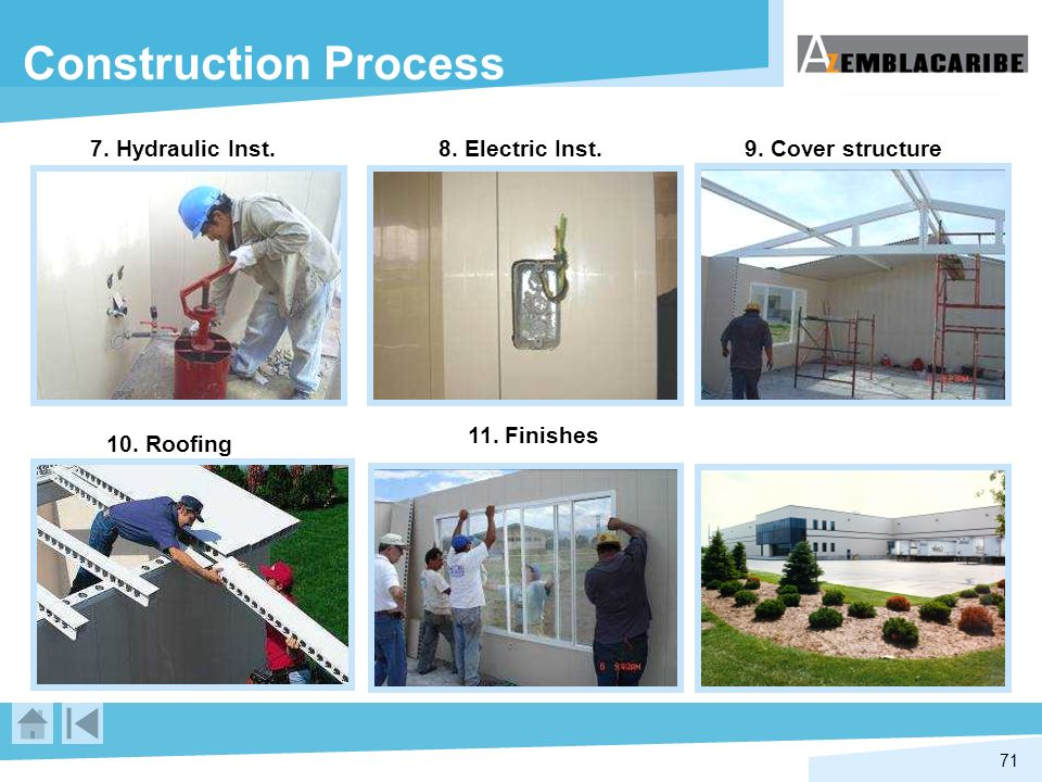 71 7. Hydraulic Inst. 9. Cover structure 10. Roofing 8. Electric Inst. 11. Finishes Construction Process