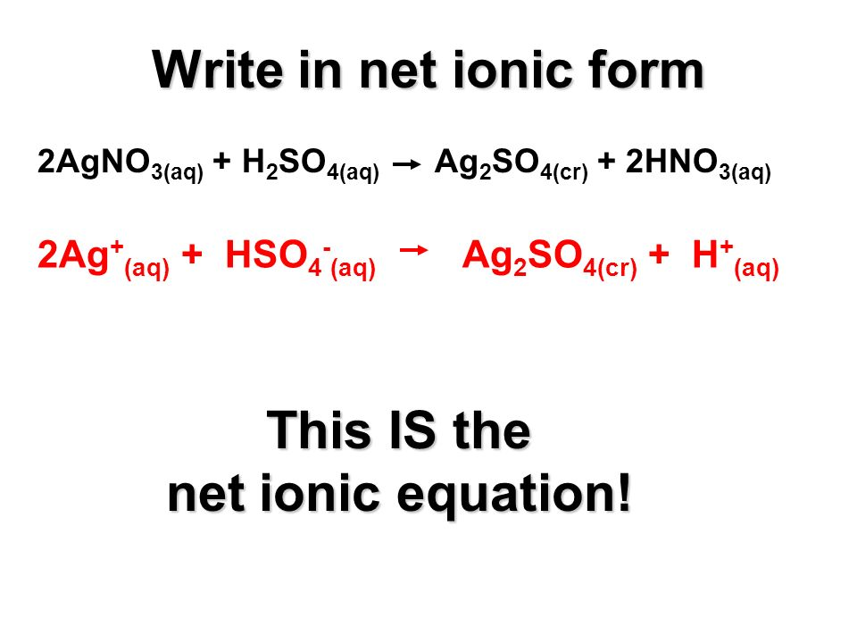 2AgNO 3(aq) + H 2 SO 4(aq) Ag 2 SO 4(cr) + 2HNO 3(aq) 2Ag + (aq) + HSO 4 - (aq) Ag 2 SO 4(cr) + H + (aq) This IS the net ionic equation.