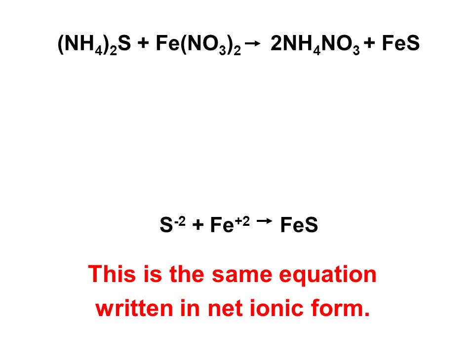 (NH 4 ) 2 S + Fe(NO 3 ) 2 2NH 4 NO 3 + FeS S -2 + Fe +2 FeS This is the same equation written in net ionic form.
