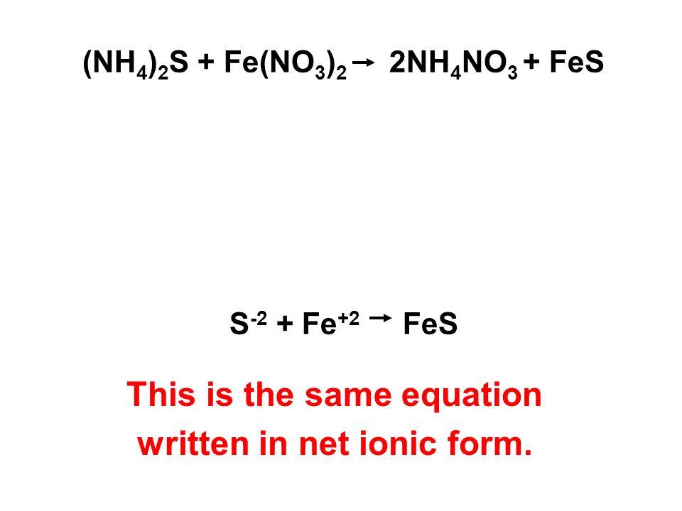 (NH 4 ) 2 S + Fe(NO 3 ) 2 2NH 4 NO 3 + FeS S -2 + Fe +2 FeS This is the same equation written in net ionic form.