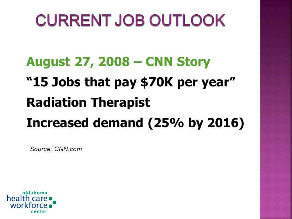 August 27, 2008 – CNN Story 15 Jobs that pay $70K per year Radiation Therapist Increased demand (25% by 2016) Source: CNN.com