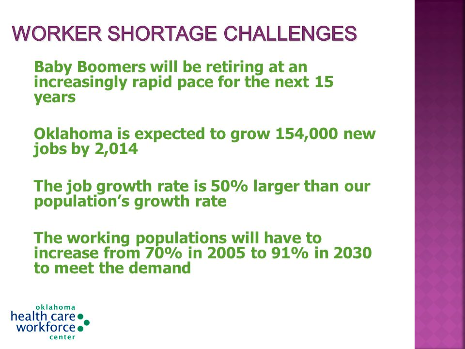 Baby Boomers will be retiring at an increasingly rapid pace for the next 15 years Oklahoma is expected to grow 154,000 new jobs by 2,014 The job growth rate is 50% larger than our populations growth rate The working populations will have to increase from 70% in 2005 to 91% in 2030 to meet the demand