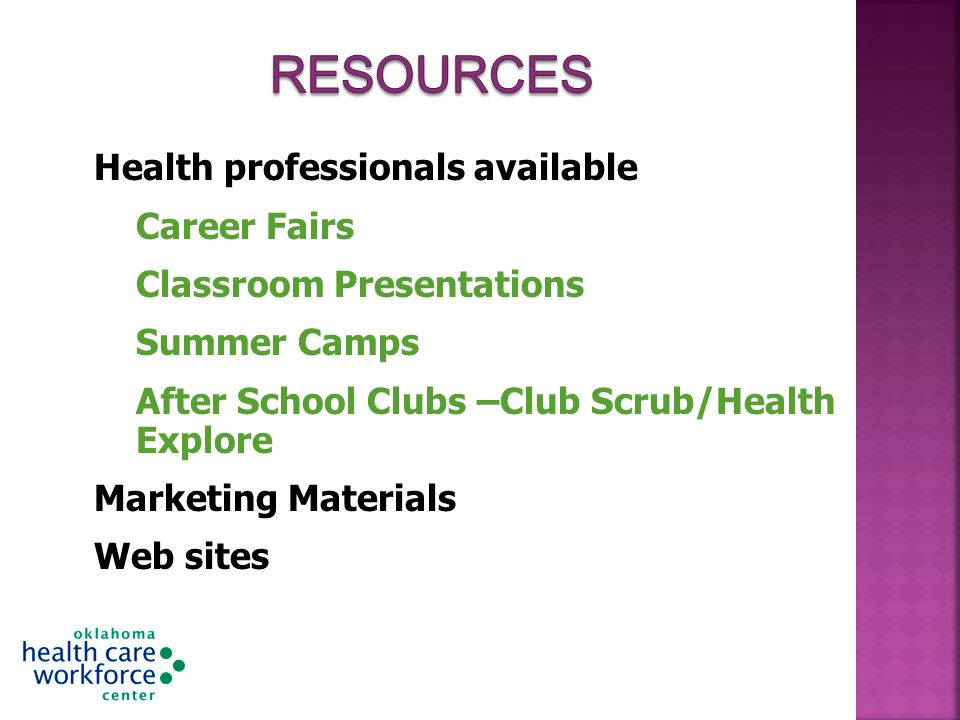 Health professionals available Career Fairs Classroom Presentations Summer Camps After School Clubs –Club Scrub/Health Explore Marketing Materials Web sites