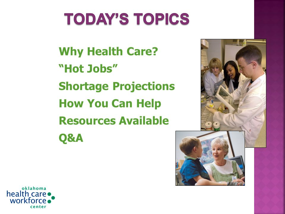 Why Health Care? Hot Jobs Shortage Projections How You Can Help Resources Available Q&A