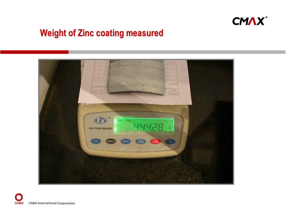 Weight of Zinc coating measured