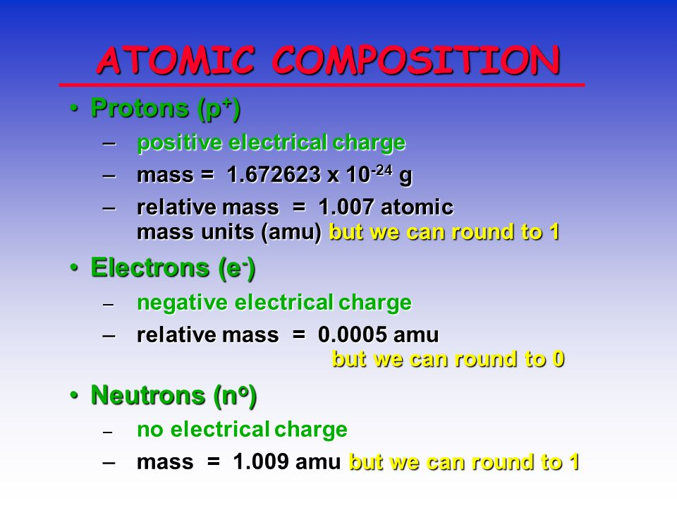 ATOM COMPOSITION protons and neutrons in the nucleus.protons and neutrons in the nucleus. the number of electrons is equal to the number of protons.th