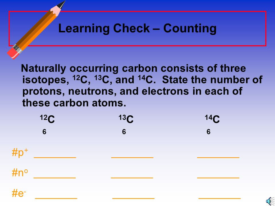 Counting Protons, Neutrons, and Electrons Protons: Atomic NumberProtons: Atomic Number (from periodic table) Neutrons: Mass Number minus the number of