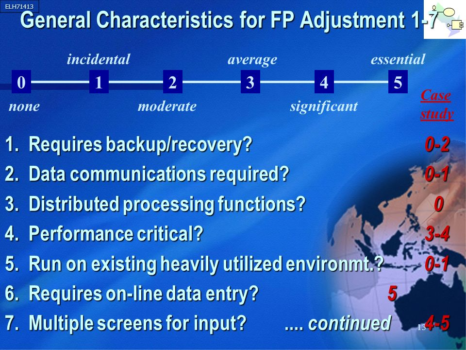 ELH71413 13 General Characteristics for FP Adjustment 1-7 1. Requires backup/recovery? 0-2 2. Data communications required? 0-1 3. Distributed process