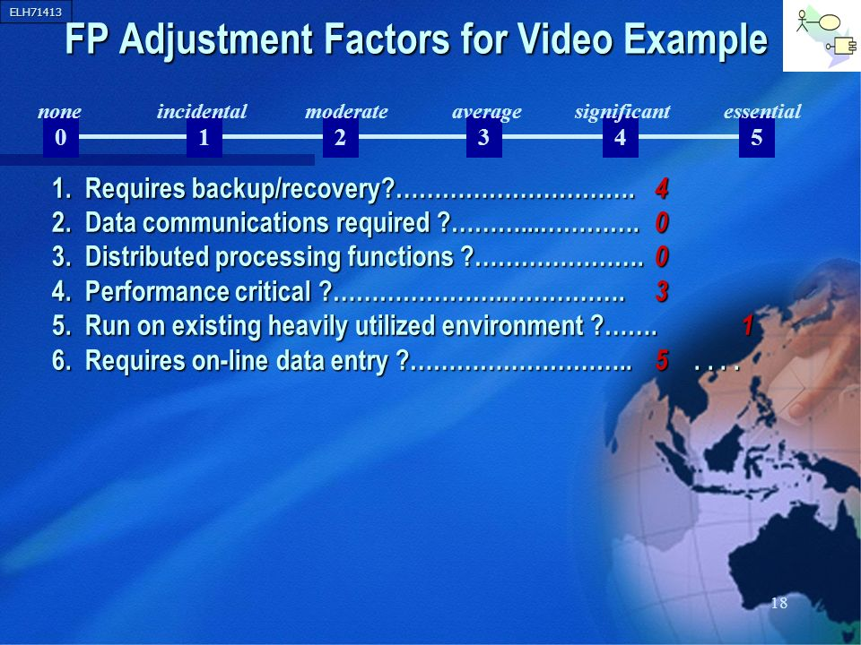 ELH71413 18 012345 FP Adjustment Factors for Video Example 1. Requires backup/recovery?…………………………. 4 2. Data communications required ?………...…………. 0 3.