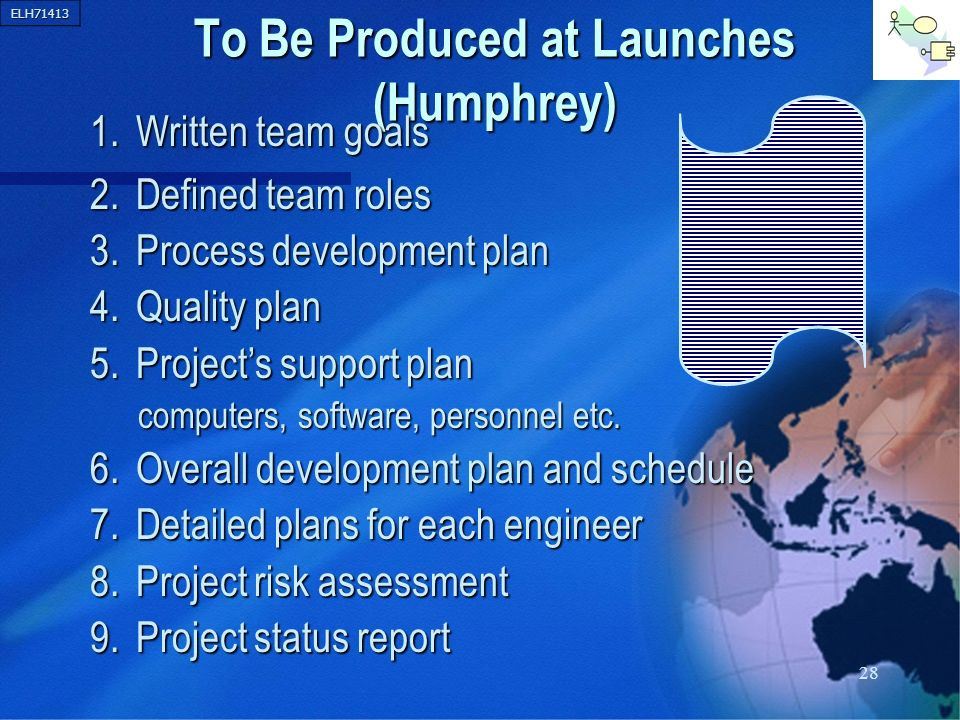 ELH71413 28 To Be Produced at Launches (Humphrey) 1. Written team goals 2. Defined team roles 3. Process development plan 4. Quality plan 5. Projects