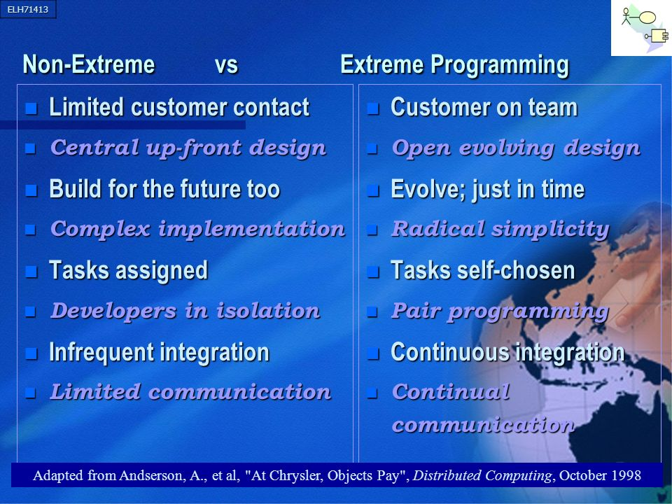 ELH71413 45 Non-Extreme vs Extreme Programming Non-Extreme vs Extreme Programming n Limited customer contact Central up-front design Central up-front