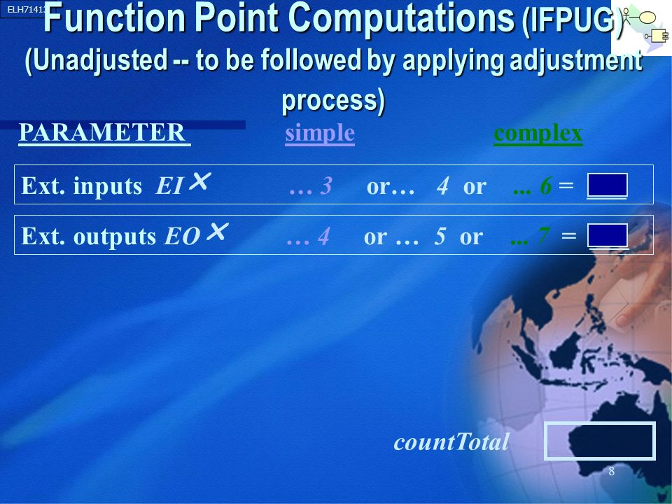 ELH71413 9 Function Point Computations (IFPUG) (Unadjusted -- to be followed by applying adjustment process) Ext.