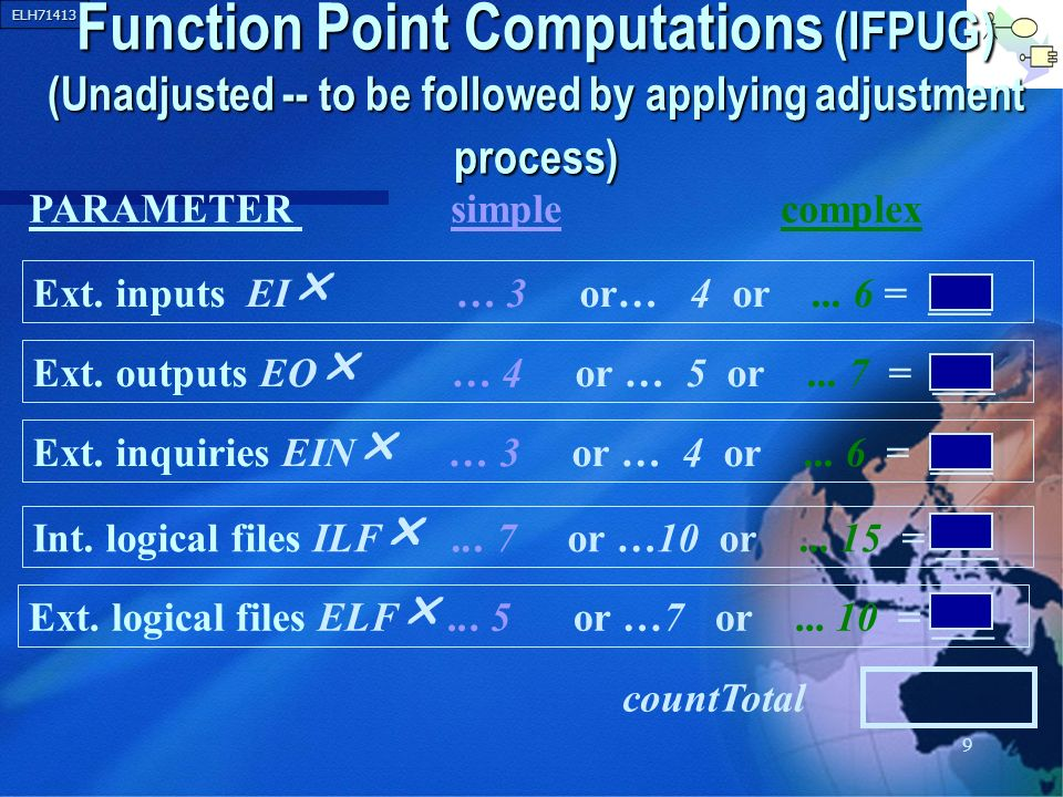 ELH71413 9 Function Point Computations (IFPUG) (Unadjusted -- to be followed by applying adjustment process) Ext. inputs EI … 3 or… 4 or... 6 = ___ Ex