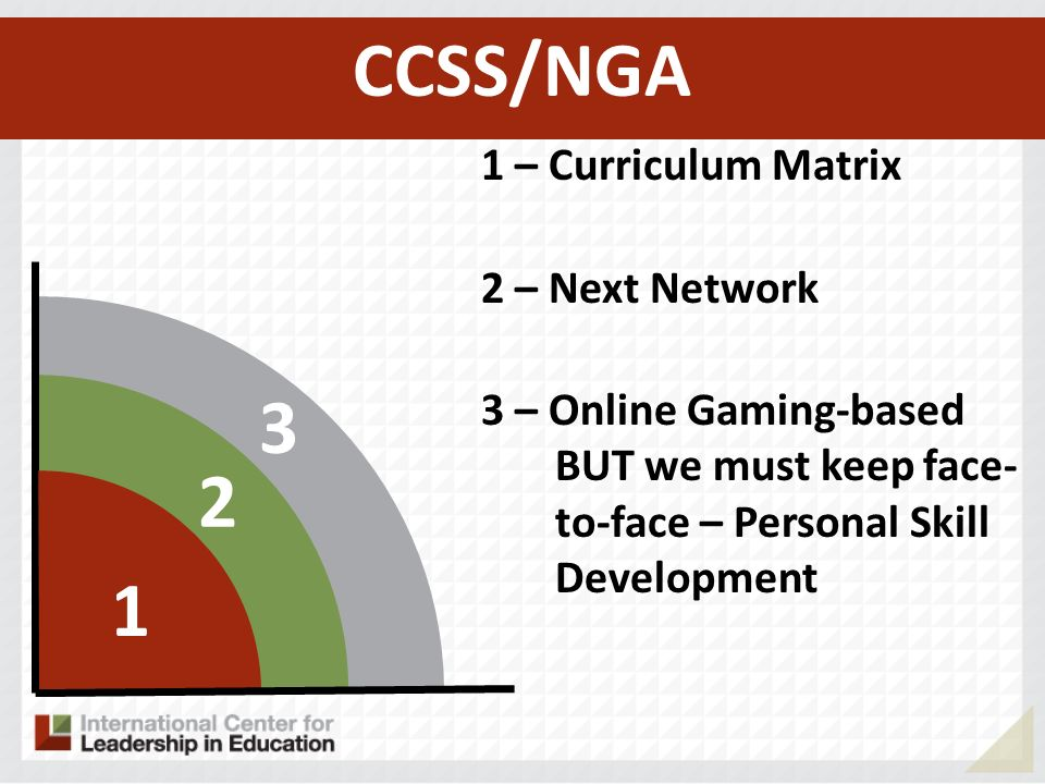 – Curriculum Matrix 2 – Next Network 3 – Online Gaming-based BUT we must keep face- to-face – Personal Skill Development CCSS/NGA
