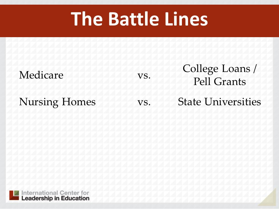 Medicarevs. College Loans / Pell Grants Nursing Homesvs.State Universities The Battle Lines