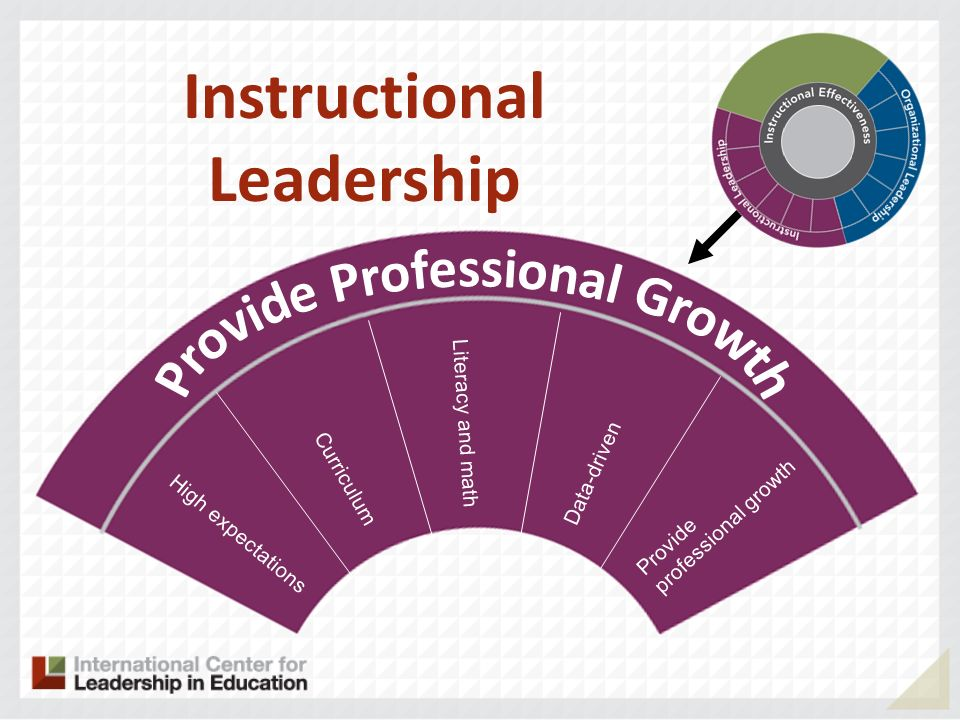 High expectations Curriculum Literacy and math Data-driven Provide professional growth Instructional Leadership
