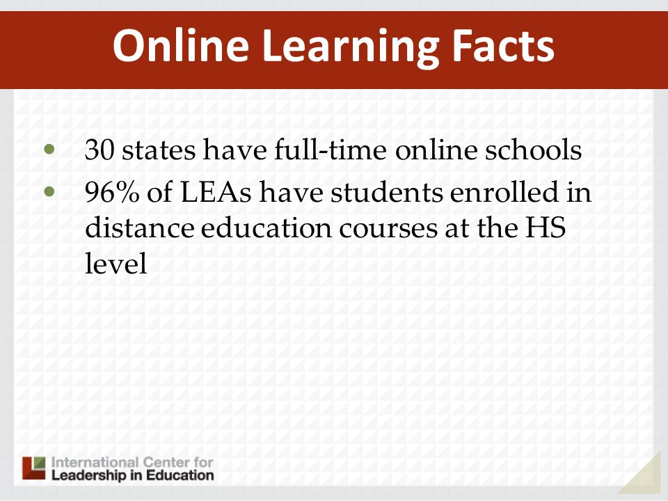 30 states have full-time online schools 96% of LEAs have students enrolled in distance education courses at the HS level Online Learning Facts