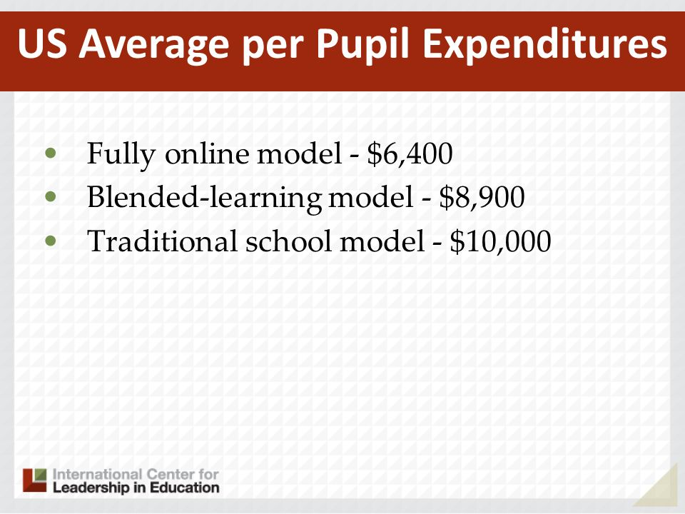 Fully online model - $6,400 Blended-learning model - $8,900 Traditional school model - $10,000 US Average per Pupil Expenditures