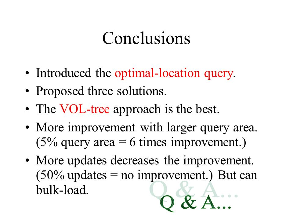 Conclusions Introduced the optimal-location query. Proposed three solutions. The VOL-tree approach is the best. More improvement with larger query are