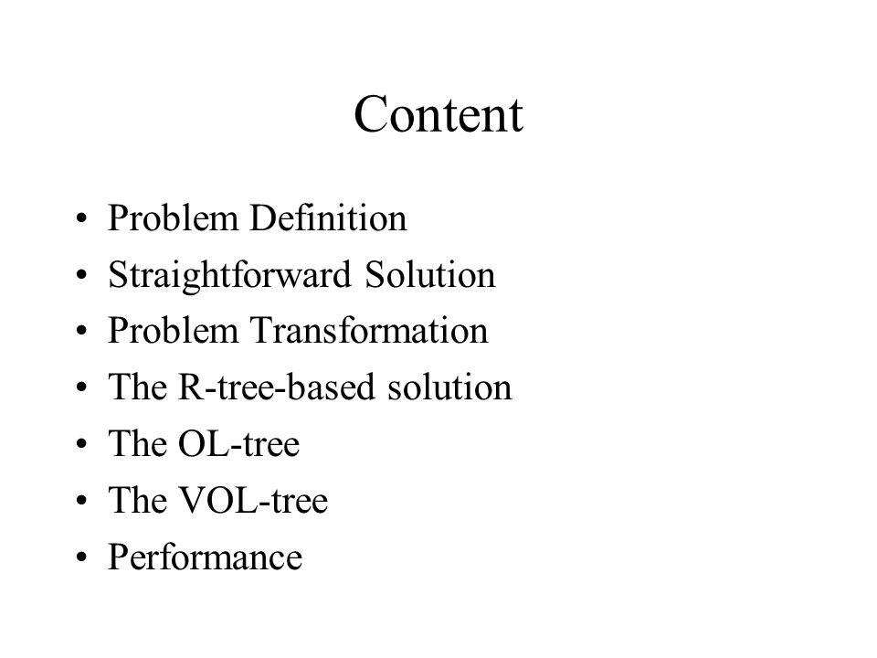 Content Problem Definition Straightforward Solution Problem Transformation The R-tree-based solution The OL-tree The VOL-tree Performance