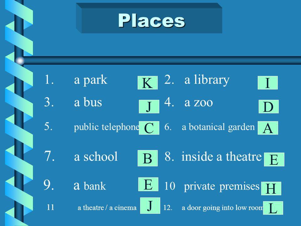 Places 1.a park2.a library 3.a bus4. a zoo 5. public telephone6.