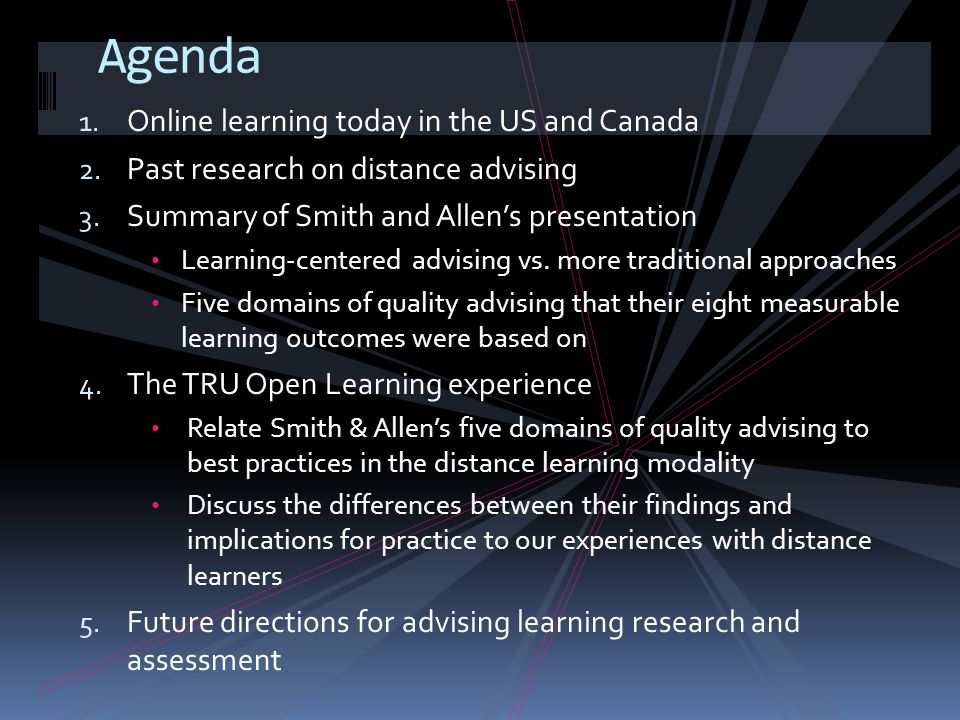 1. Online learning today in the US and Canada 2. Past research on distance advising 3.