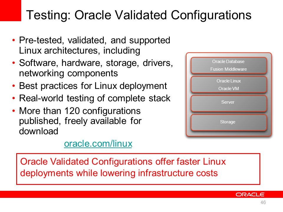 Testing: Oracle Validated Configurations Pre-tested, validated, and supported Linux architectures, including Software, hardware, storage, drivers, net