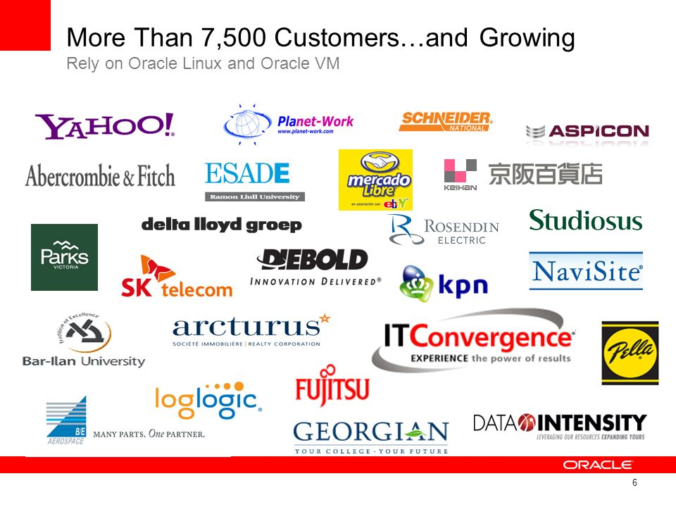 6 More Than 7,500 Customers…and Growing Rely on Oracle Linux and Oracle VM