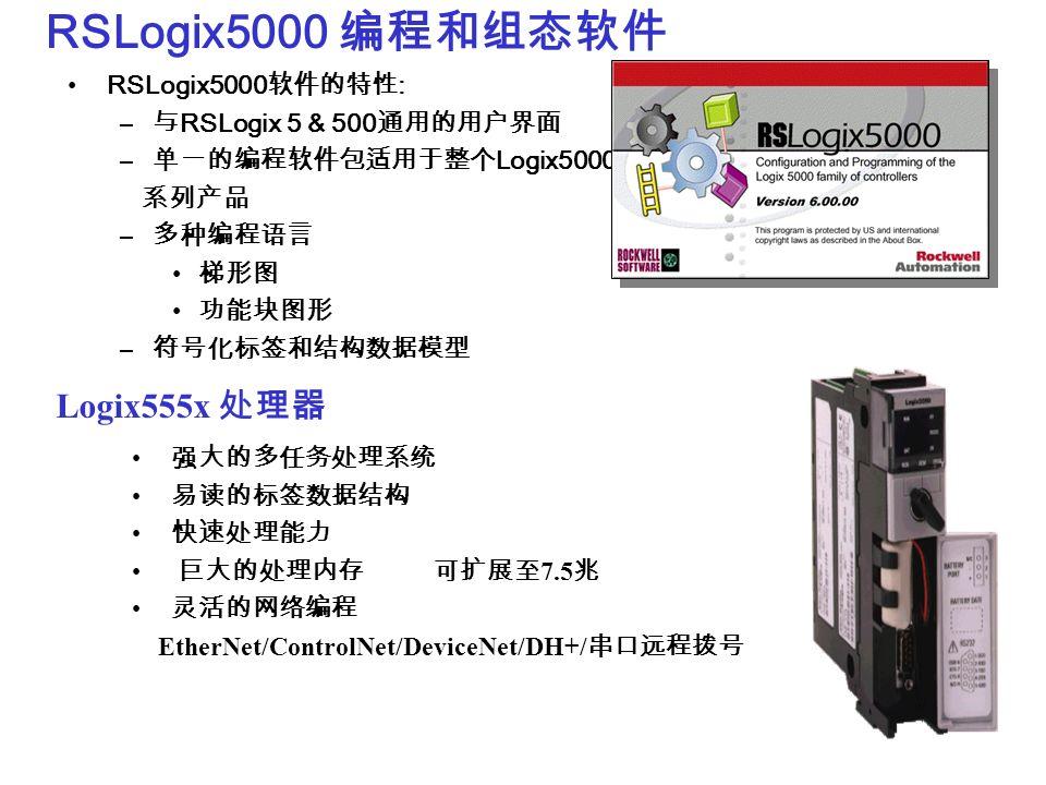 RSLogix5000 RSLogix5000 : – RSLogix 5 & 500 – Logix5000 – Logix555x 7.5 EtherNet/ControlNet/DeviceNet/DH+/