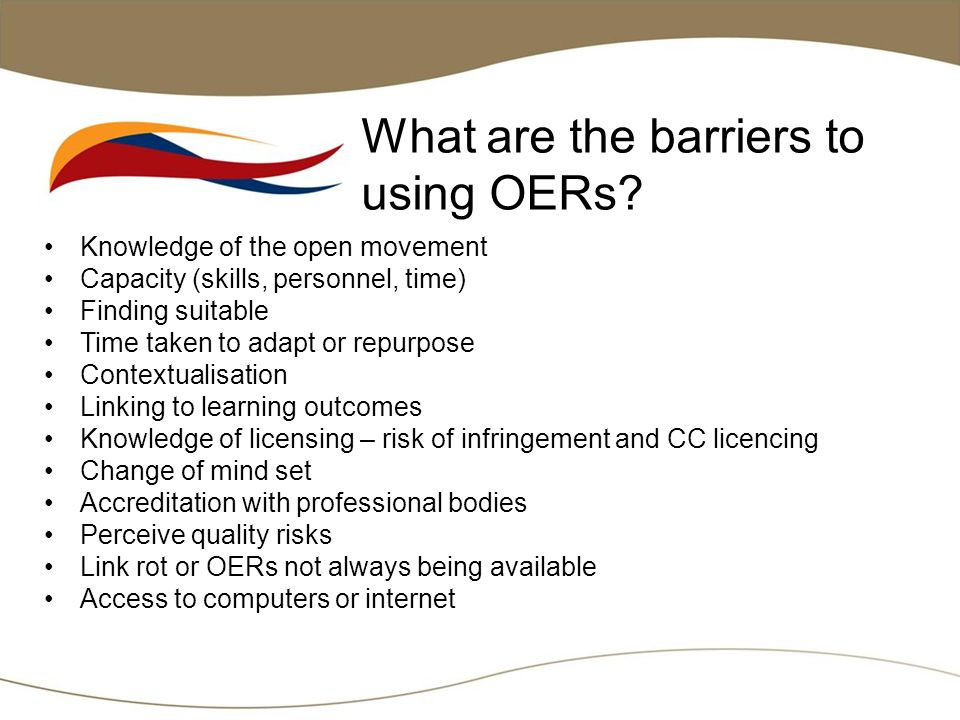 What are the barriers to using OERs.