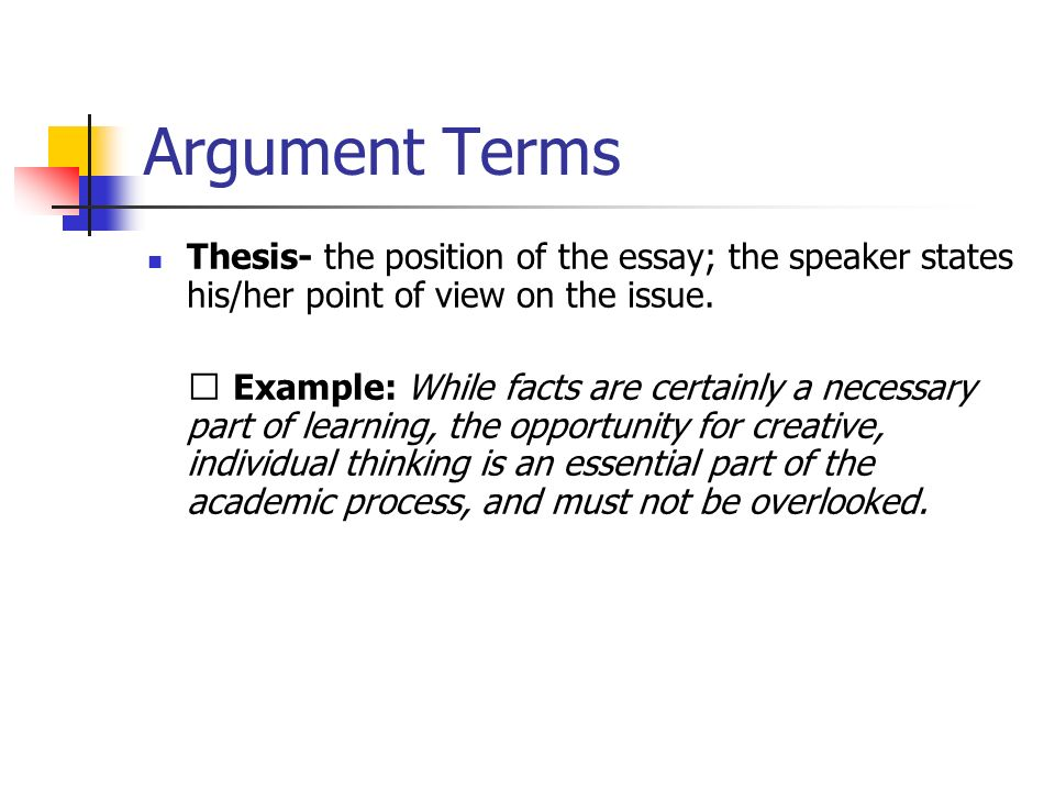 Argument Terms Assertion/Claim - an opinion which is stated as a fact.