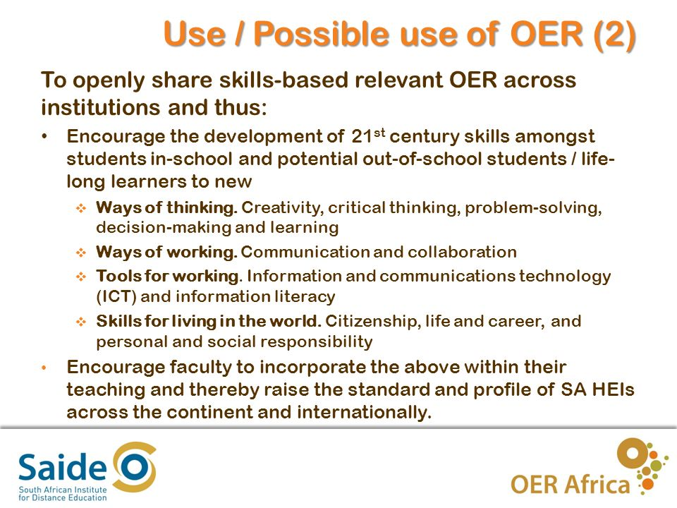 6 What is your institution doing / your involvement in OER.
