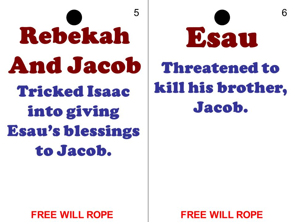 Rebekah And Jacob Tricked Isaac into giving Esaus blessings to Jacob. Esau Threatened to kill his brother, Jacob. 56 FREE WILL ROPE
